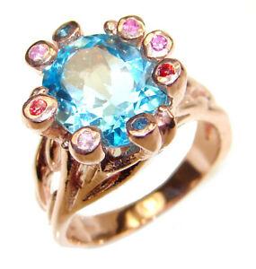 Fancy Swiss Blue Topaz 18k Gold over .925 Sterling Silver handcrafted ring size $305.33