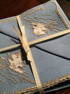 quot;Old Shipsquot; Sea Monsters MARGHAB Vintage MADEIRA Embroidery 8 Napkins $258.00