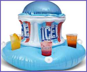 Icee Floating Inflatable Cooler Float W Zippered Compartment For Ice Coolers Par