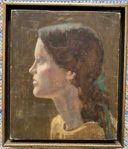 antique original oil young girl artist signed small $250.00
