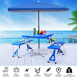 Portable Folding Camping Desk Party Picnic Table With 4 Seats Indoor Outdoor
