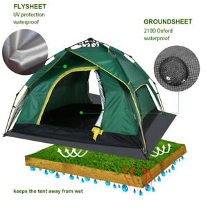 Waterproof Camping Tent 3 To 4 Person Tent Double Layer Automatic Instant Pop Up