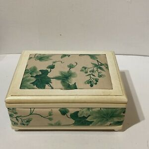 Vintage Sewing Organization Box Cream Color Painted Wood w Ivy Patterned Fabric $34.00