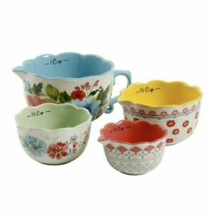 Great gift The Pioneer Woman Breezy Blossom Stackable 4 Piece Measuring Bowl Set
