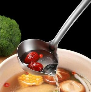 Stainless Steel Long Handle Soup Oil Filter Spoon Restaurant Home Cooking Ladle