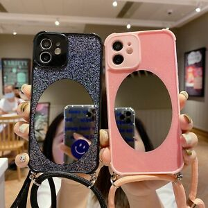 Bling Glitter Mirror Soft Case Cover w Strap for iPhone 12 11 Pro Max XR W Strap