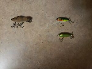 Lot of 3 Vintage Heddon Lures Meadow Mouse Minnow