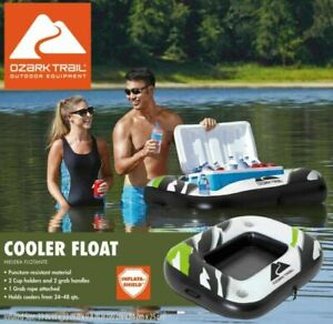 Ozark Trail Inflatable Cooler Float w 2 Cup Holders Holds 24 48 quart Coolers