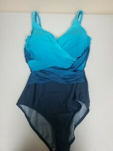 Lands End Womens Size 8 Teal Ombre One Peice Straight Straps V Neck Swim Suit