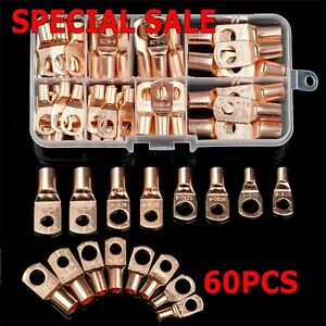 US 60pcs Battery Bare Copper Ring Lug Terminals Connector Wire Gauge SC6 25 Kit $12.49