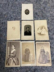 Lot of Antique Photos 5 CDV's and 2 Tintypes