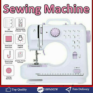 Portable Mini Electric Sewing Machine Double Speed 12 Stitches Household Tailor $37.29