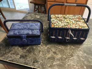 vintage 2 sewing baskets design sewing basket blue 9 4 6wicker 10 6 8 inches $20.00
