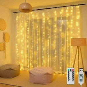 300LED 10ft Curtain Fairy Hanging String Lights Wedding Party Wall Decor Lamp US $9.99