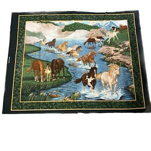 vintage horse fabric panel cut n sew material sewing wall hanging $8.96