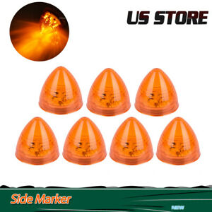 7Pcs Amber 2quot; 9 LED Beehive Side Clearance Marker Light Round Truck Trailer 12V