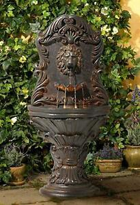 Acanthus Antiqued Lion Outdoor Wall Water Fountain w Light 50John Timberland