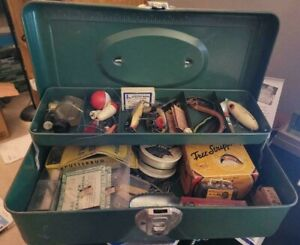 Vintage Fishing Tackle Box w Antique Lures Reel amp; More Some Still In Boxes