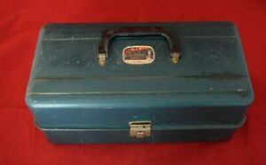 Vintage Liberty Steel Tackle Box w Antique Lures Reels amp; More