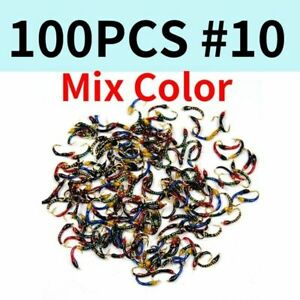 Fishing Bait 100pcs Assorted Epoxy Nymph Trout White Fish Artificial Lures Size