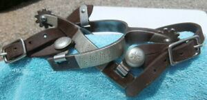 Antique Silver Overlay Iron stamped Kelly Horse Spurs Straps Collector Condit