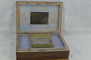 early period sewing box wooden wall paper mirror compartments 19th c 1800 $95.00