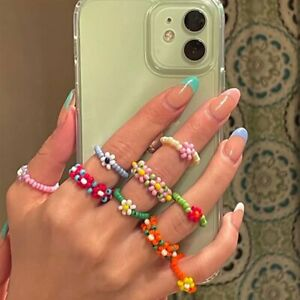 Boho Small Flower Summer Colorful Beads Ring Adjustable Women Party Jewelry Gift C $1.13
