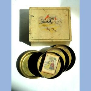 antique AWESOME FOX HUNTING BOX w OLD CIGARETTE MATCHES BRASS ASH TRAYS