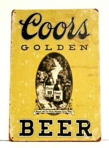 New Coors Beer Tin Poster Sign Bar Man Cave Golden Can Vintage Ad Style