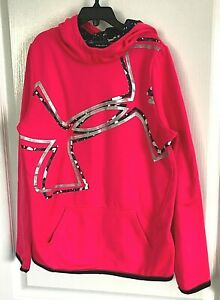 Girls Under Armour Hoodie Pullover Coldgear Pink Large YLG $5.99