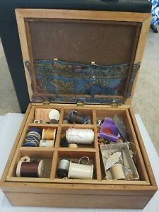 Vintage Wooden Sewing Box w Red Felted Lid w Dividers FILLED w sewing items $30.00