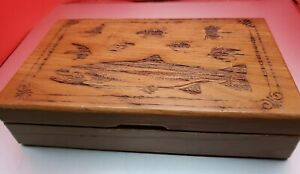 Playing Cards Antique Lures amp; Fish Rivers Edge Wooden Box w Dice Sealed Cards