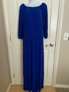 Chicos Peasant Maxi Dress Size 0 S Royal Blue Stretch Knit 3 4 Sleeve Womens $18.97