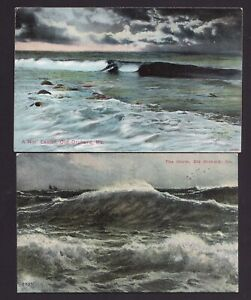 Lot of 2 Old Vintage Postcards Old Orchard Beach Maine ME The Storm Waves Etc