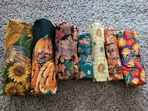 Huge Lot Fall Halloween Fabric Cotton Variety Prints 7 pieces Crafts Sewing NEW $46.97