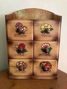 Vintage Wooden Sewing Wall Mount Notions Box Needles Snaps Pins Buttons Thread $10.00