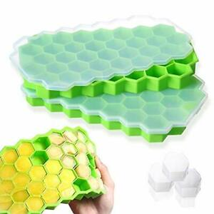 Ice Cube Trays Silicone Molds with Lids Molds for Drilled Drinks 2 Pack