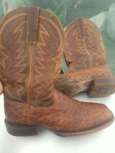 DURANGO PREMIUM EXOTIC FULL QUILL OSTRICH 12quot; Used boots some scuffs size 9.5 M