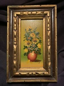 Hand painted oil signed vintage floral $22.00