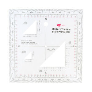 Acrylic Military Triangle Scale Protractor Reading Graphic Training Aid $9.57