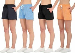 4 Pack: Womens Active Athletic Performance Dry Fit Shorts with Zipper Pockets $69.08