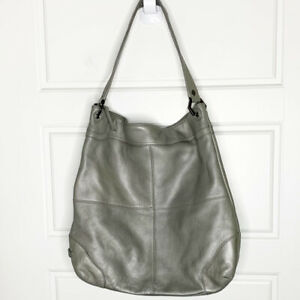 EILEEN WEST Leather Hobo Shoulder Bag XL 16x16 In Taupe gray Elephant Color $49.99