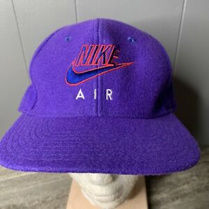 Nike Air Vintage Wool 1990s Fitted Baseball Hat Size 7 5 8 Purple Rare Flight $39.99