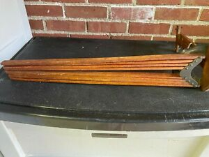 Primitive Antique FOLDING VINTAGE WOOD CLOTHES DRYING RACK Wall Mount 8 Arms $99.00