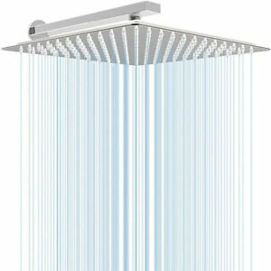 Hongtoo Large 12 In Stainless Steel Adjustable Square Rainfall Spa Shower Head $39.99