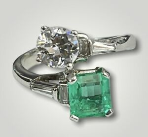 Diamond And Gem Two Stone Ring Ascher and Round Brilliants Platinum $5300.00