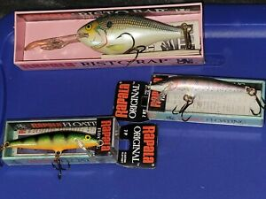 Lot of 3 RAPALA Lures Floating Perch Rainbow Trout amp; Deep Runner Grand Plongeur
