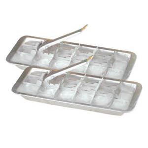 Vintage Kitchen Aluminum Metal Ice Cube Trays Set of 2 – Each Tray Features 18