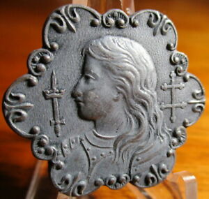 Antique from France quot;JOAN OF ARCquot; 1 1 4quot; Fancy Metal Picture Button $45.00
