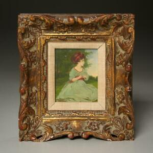 ANTIQUE OIL PAINTING OF A GIRL IN THE PARK SIGNED BORAS FRAMED $150.00
